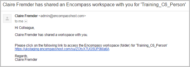 Shared workspace email | Encompass Product Update October 2016